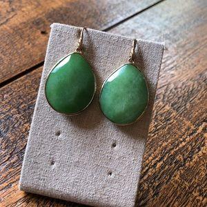 Green gem stone earrings